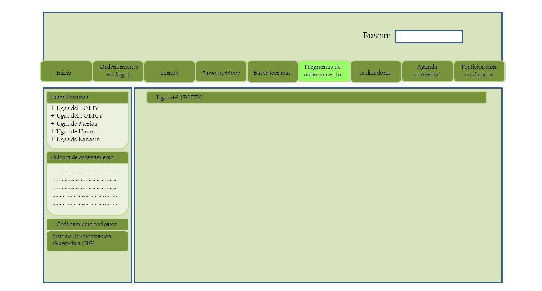 ------------------------ Bitácora de ordenamiento + Ugas del POETY + Ugas del POETCY + Ugas de Mérida + Ugas de Umán + Ugas de Kanasín Bases Técnicas Sistema de información Geográfica (SIG) Ordenamiento ecológico Ugas del [POETY] Inicio Ordenamiento ecológico Comité Bases jurídicas Bases técnicas Programas de ordenamiento Indicadores Agenda ambiental Participación ciudadana Buscar