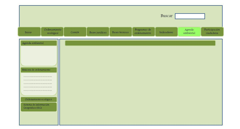 ------------------------ Bitácora de ordenamiento Agenda ambiental Sistema de información Geográfica (SIG) Ordenamiento ecológico Inicio Ordenamiento ecológico Comité Bases jurídicas Bases técnicas Programas de ordenamiento Indicadores Agenda ambiental Participación ciudadana Buscar