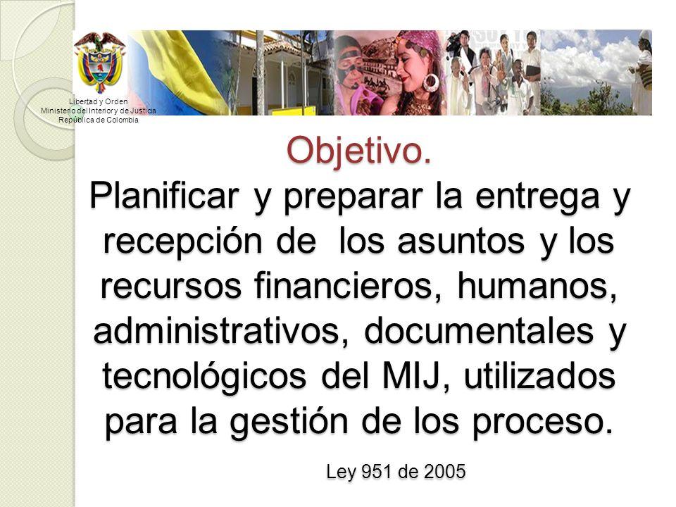 Objetivo: Objetivo. Planificar y preparar la entrega y recepción de los asuntos y los recursos financieros, humanos, administrativos, documentales y t
