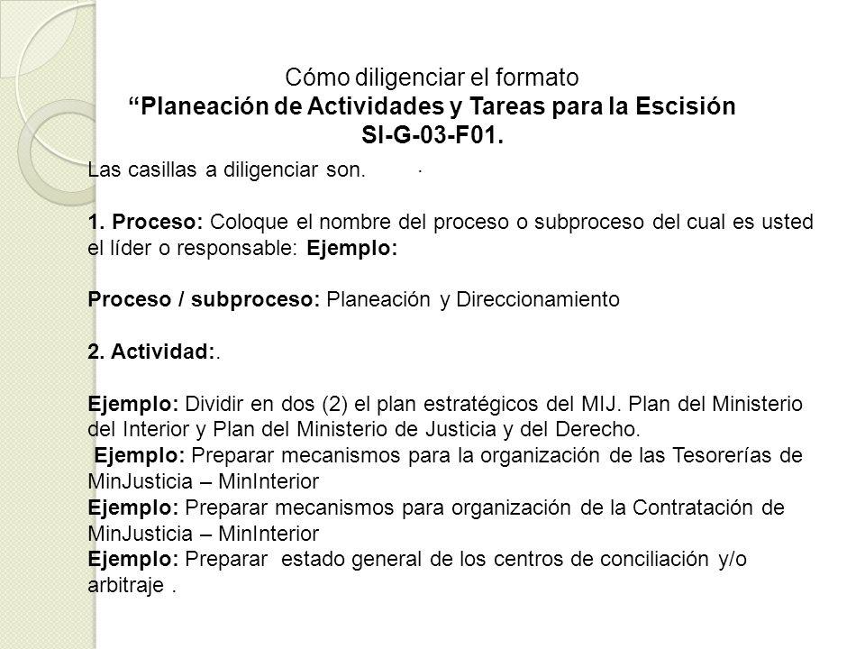 . Cómo diligenciar el formato Planeación de Actividades y Tareas para la Escisión SI-G-03-F01. Las casillas a diligenciar son. 1. Proceso: Coloque el
