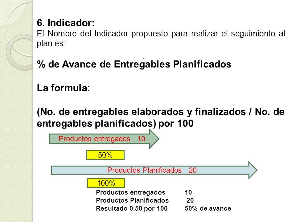 . 6. Indicador: El Nombre del Indicador propuesto para realizar el seguimiento al plan es: % de Avance de Entregables Planificados La formula: (No. de