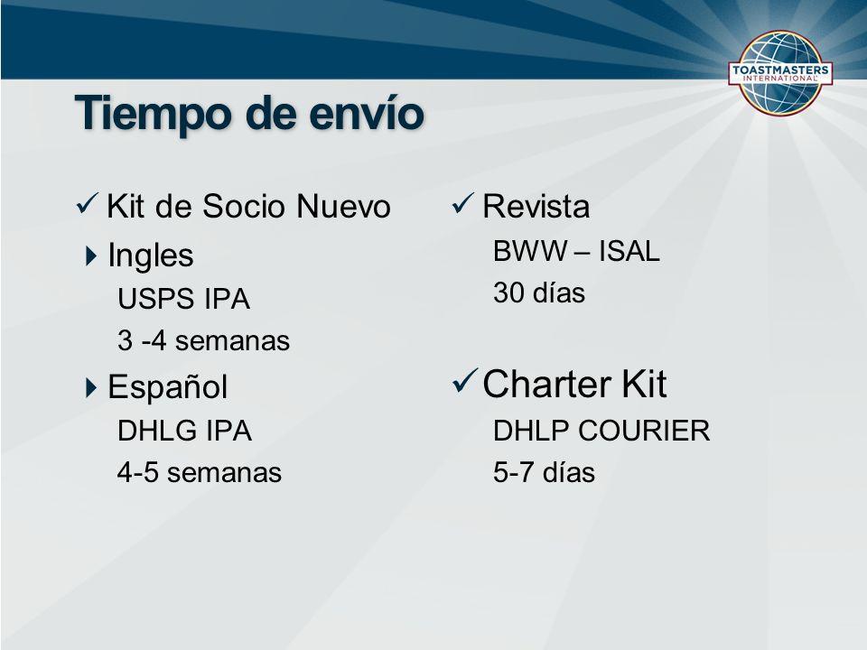 Tiempo de envío Kit de Socio Nuevo Ingles USPS IPA 3 -4 semanas Español DHLG IPA 4-5 semanas Revista BWW – ISAL 30 días Charter Kit DHLP COURIER 5-7 días
