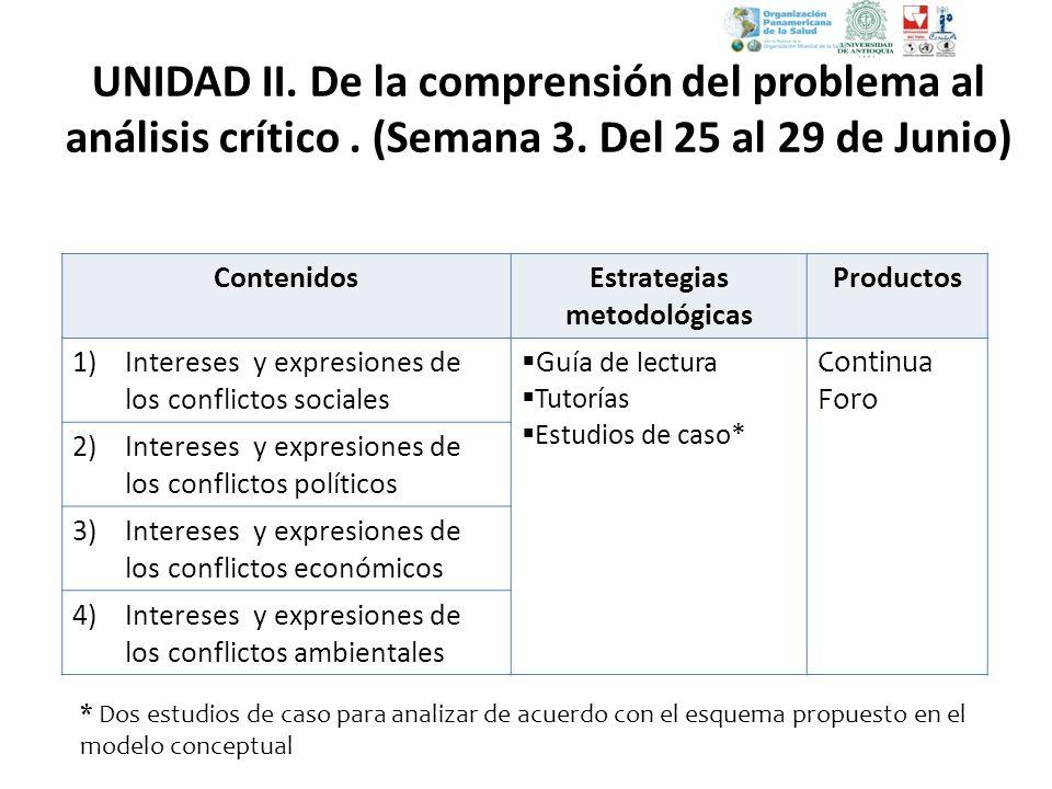 ContenidosEstrategias metodológicas Productos 1)Intereses y expresiones de los conflictos sociales Guía de lectura Tutorías Estudios de caso * Continu