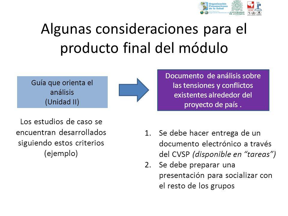Algunas consideraciones para el producto final del módulo Documento de análisis sobre las tensiones y conflictos existentes alrededor del proyecto de