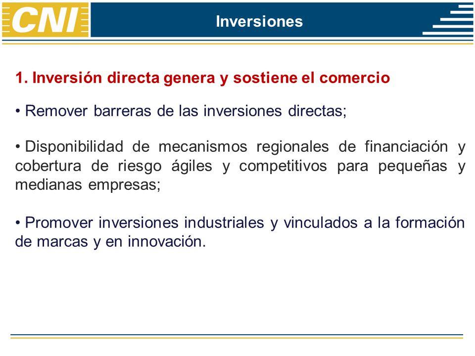 Inversiones 1. Inversión directa genera y sostiene el comercio Remover barreras de las inversiones directas; Disponibilidad de mecanismos regionales d