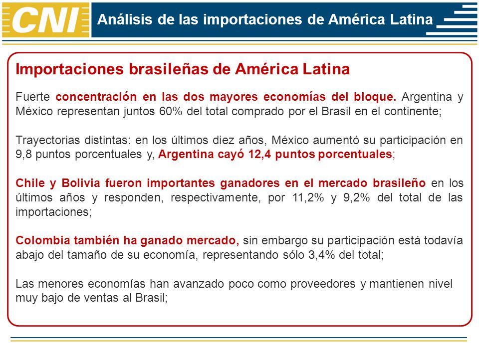 Análisis de las importaciones de América Latina Importaciones brasileñas de América Latina Fuerte concentración en las dos mayores economías del bloqu