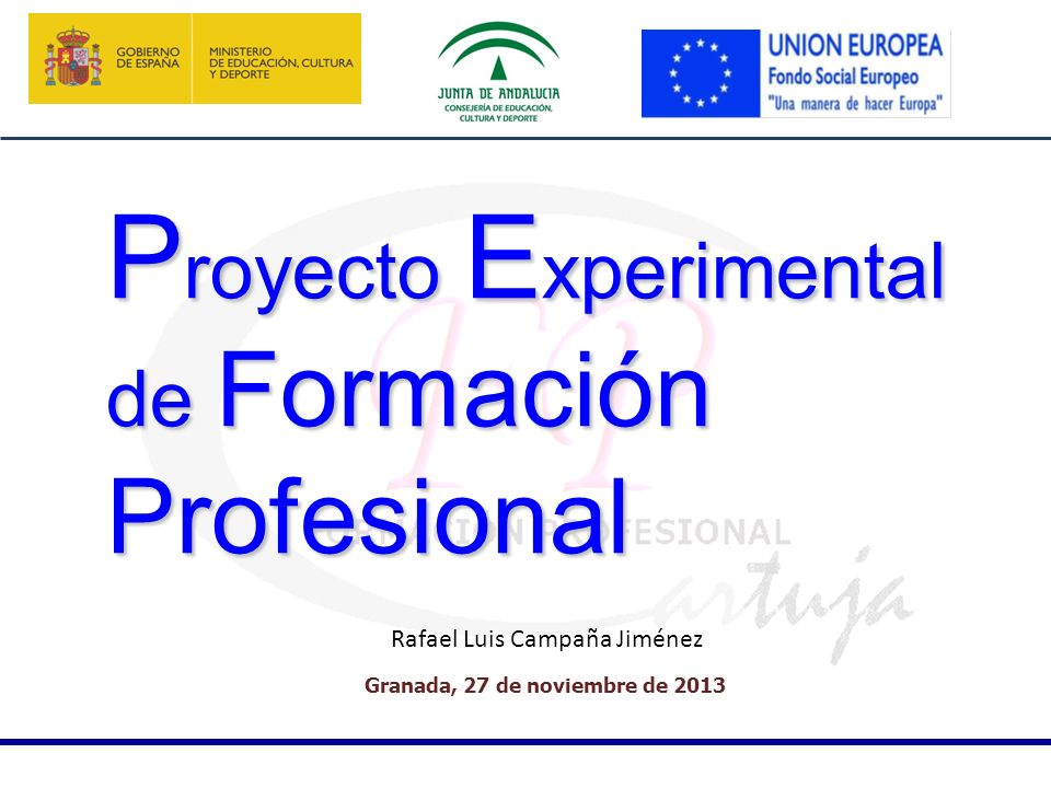 Granada, 27 de noviembre de 2013 P royecto E xperimental de Formación Profesional Rafael Luis Campaña Jiménez