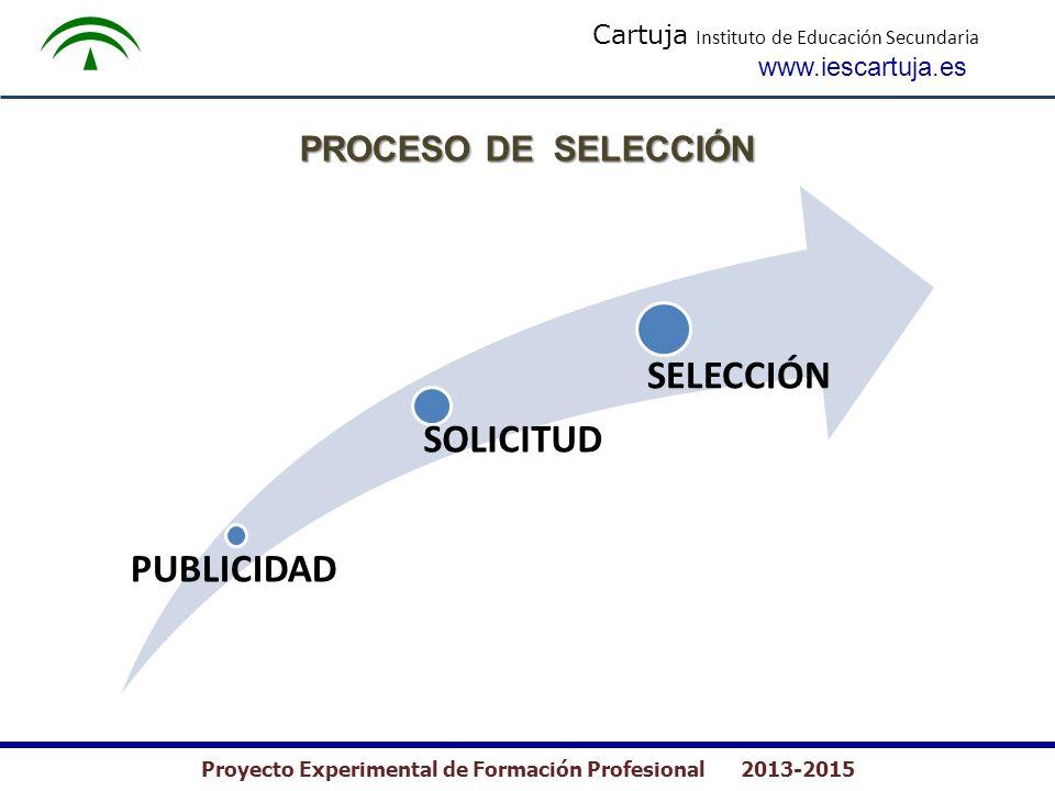 Cartuja Instituto de Educación Secundaria www.iescartuja.es Proyecto Experimental de Formación Profesional 2013-2015 PROCESO DE SELECCIÓN PUBLICIDAD SOLICITUD SELECCIÓN