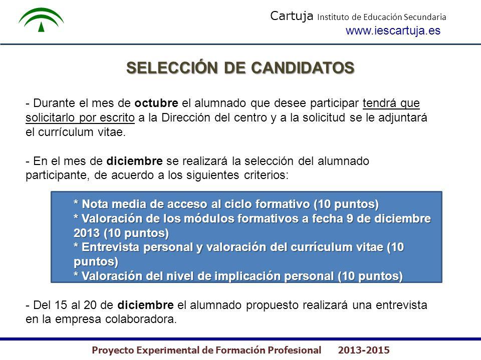 Cartuja Instituto de Educación Secundaria www.iescartuja.es Proyecto Experimental de Formación Profesional 2013-2015 - Durante el mes de octubre el al