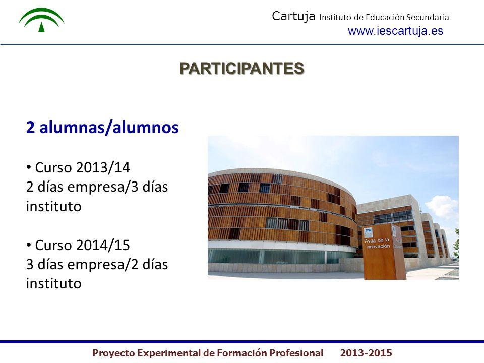 Cartuja Instituto de Educación Secundaria www.iescartuja.es Proyecto Experimental de Formación Profesional 2013-2015 2 alumnas/alumnos Curso 2013/14 2