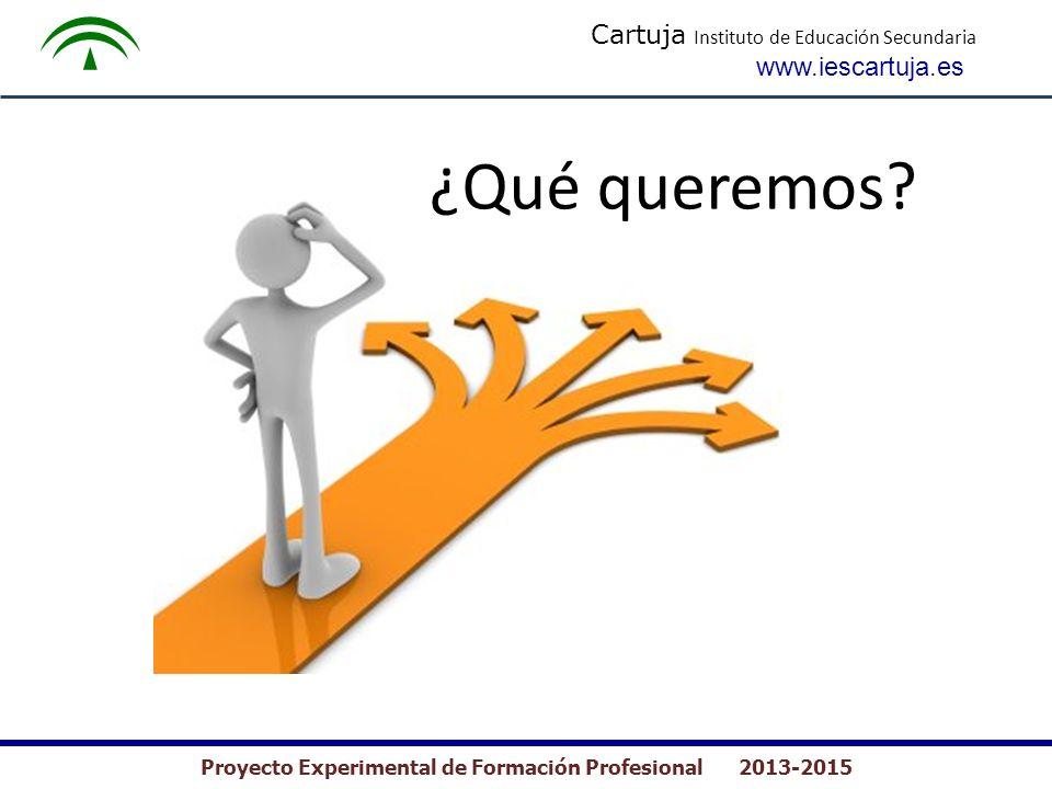 Cartuja Instituto de Educación Secundaria www.iescartuja.es Proyecto Experimental de Formación Profesional 2013-2015 ¿Qué queremos