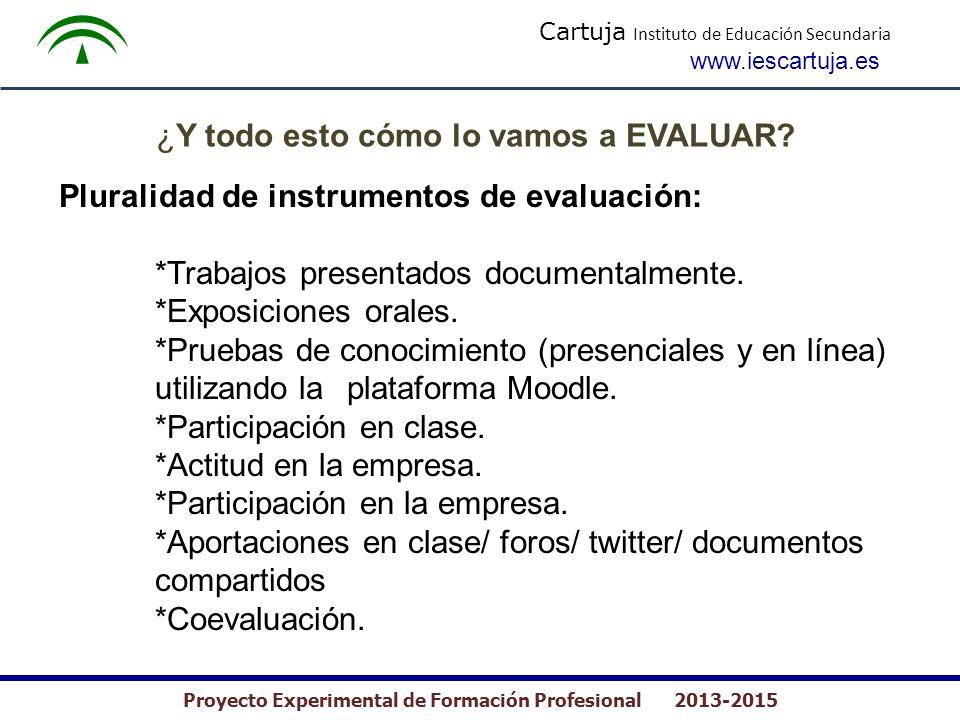 Cartuja Instituto de Educación Secundaria www.iescartuja.es Proyecto Experimental de Formación Profesional 2013-2015 ¿Y todo esto cómo lo vamos a EVAL