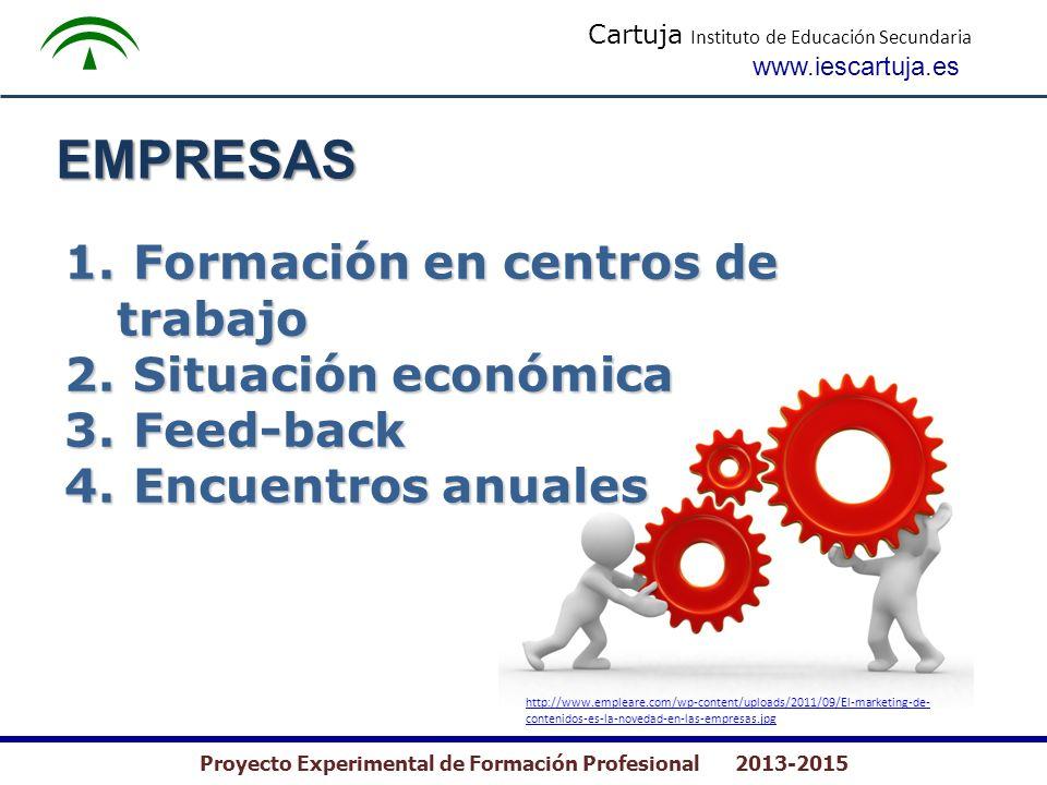 Cartuja Instituto de Educación Secundaria www.iescartuja.es Proyecto Experimental de Formación Profesional 2013-2015 EMPRESAS 1. Formación en centros
