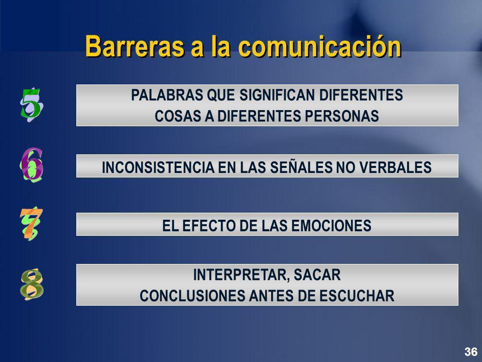 36 Barreras a la comunicación INCONSISTENCIA EN LAS SEÑALES NO VERBALES PALABRAS QUE SIGNIFICAN DIFERENTES COSAS A DIFERENTES PERSONAS INTERPRETAR, SACAR CONCLUSIONES ANTES DE ESCUCHAR EL EFECTO DE LAS EMOCIONES