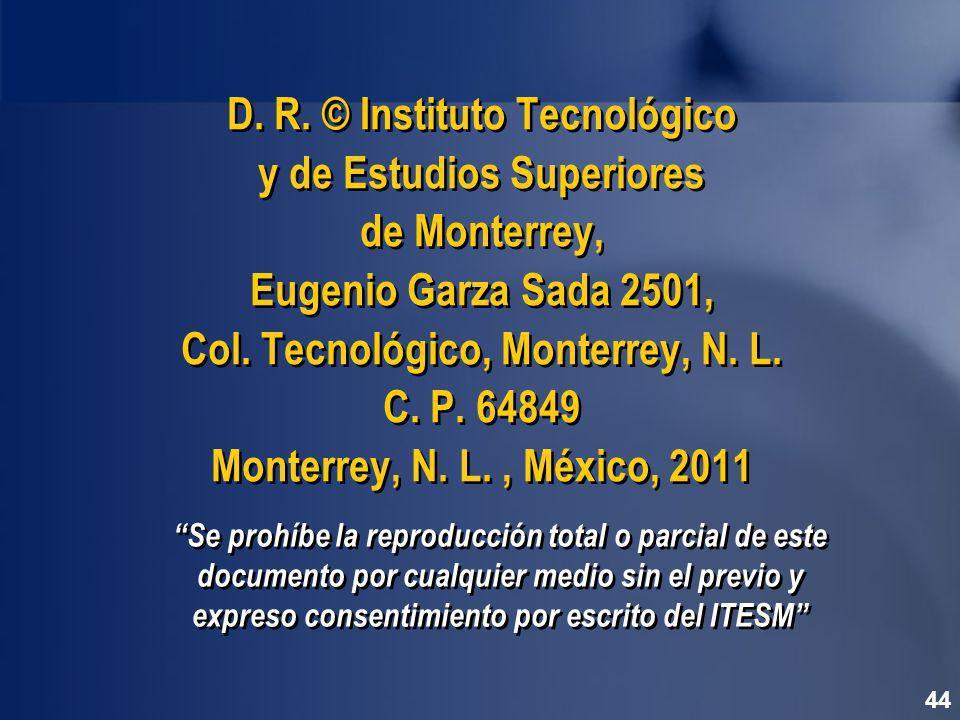 Se prohíbe la reproducción total o parcial de este documento por cualquier medio sin el previo y expreso consentimiento por escrito del ITESM D.
