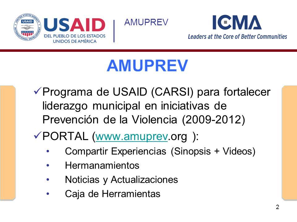 Programa de USAID (CARSI) para fortalecer liderazgo municipal en iniciativas de Prevención de la Violencia (2009-2012) PORTAL (www.amuprev.org ):www.a