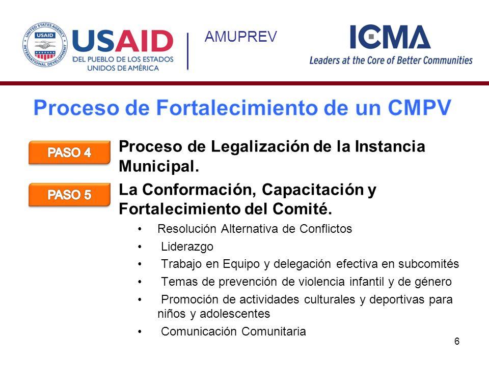 AMUPREV Proceso de Legalización de la Instancia Municipal. La Conformación, Capacitación y Fortalecimiento del Comité. Resolución Alternativa de Confl