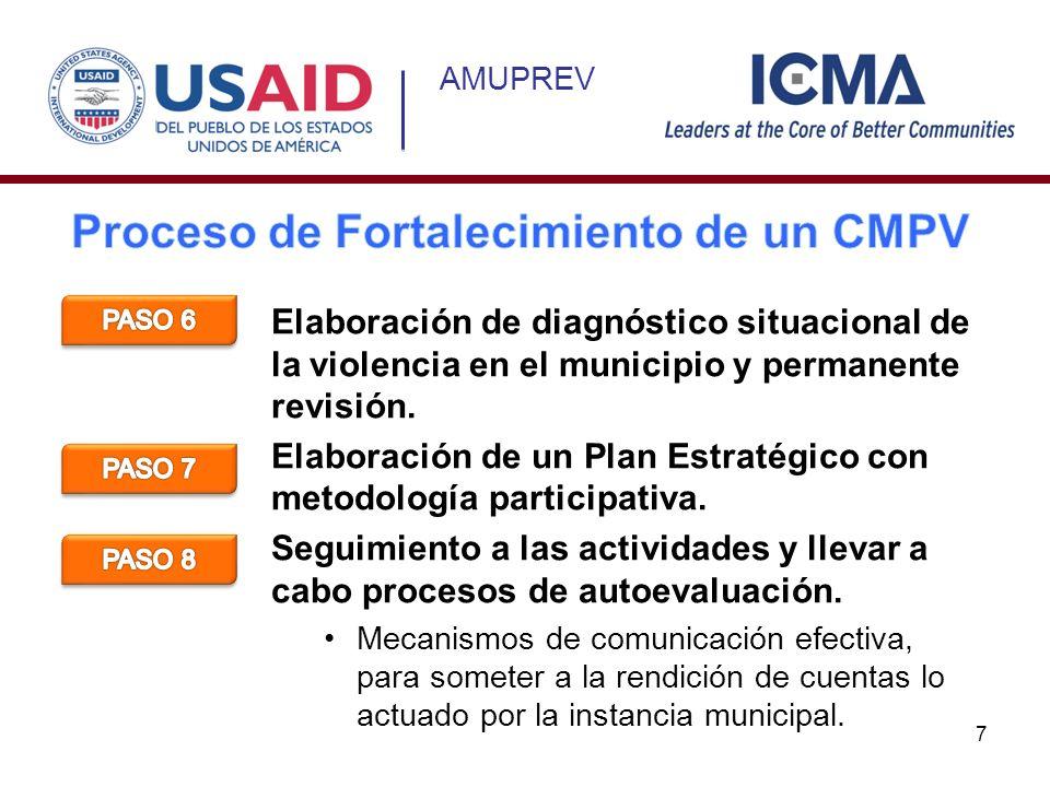 AMUPREV Elaboración de diagnóstico situacional de la violencia en el municipio y permanente revisión. Elaboración de un Plan Estratégico con metodolog