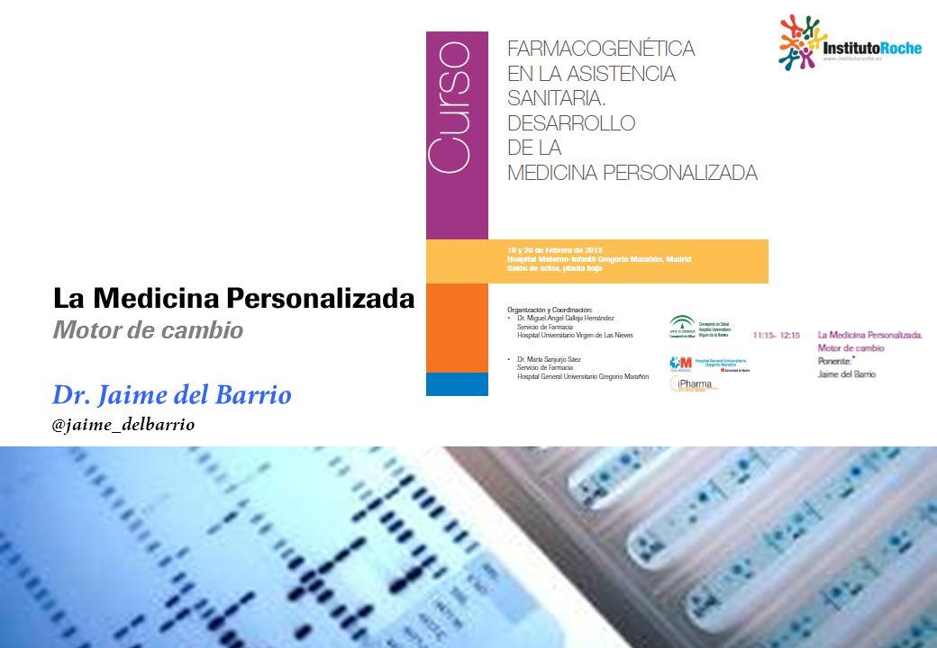 La Medicina Personalizada es ya una realidad La colaboración entre Diagnóstica y Farmacéutica ha sido clave Estratificar pacientes en función de las mutaciones de sus tumores (HER2, BRAF, EGFR) Mejorar la calidad del diagnóstico (VHB, VHC) Monitorizar la evolución del tratamiento (VHC, HER2) Identificar la secuencia óptima de tratamientos Monitorizar la eficacia del tratamiento (VIH, VHB, VHC) La Medicina Personalizada ya está permitiendo a los clínicos: Farma Diagnóstica