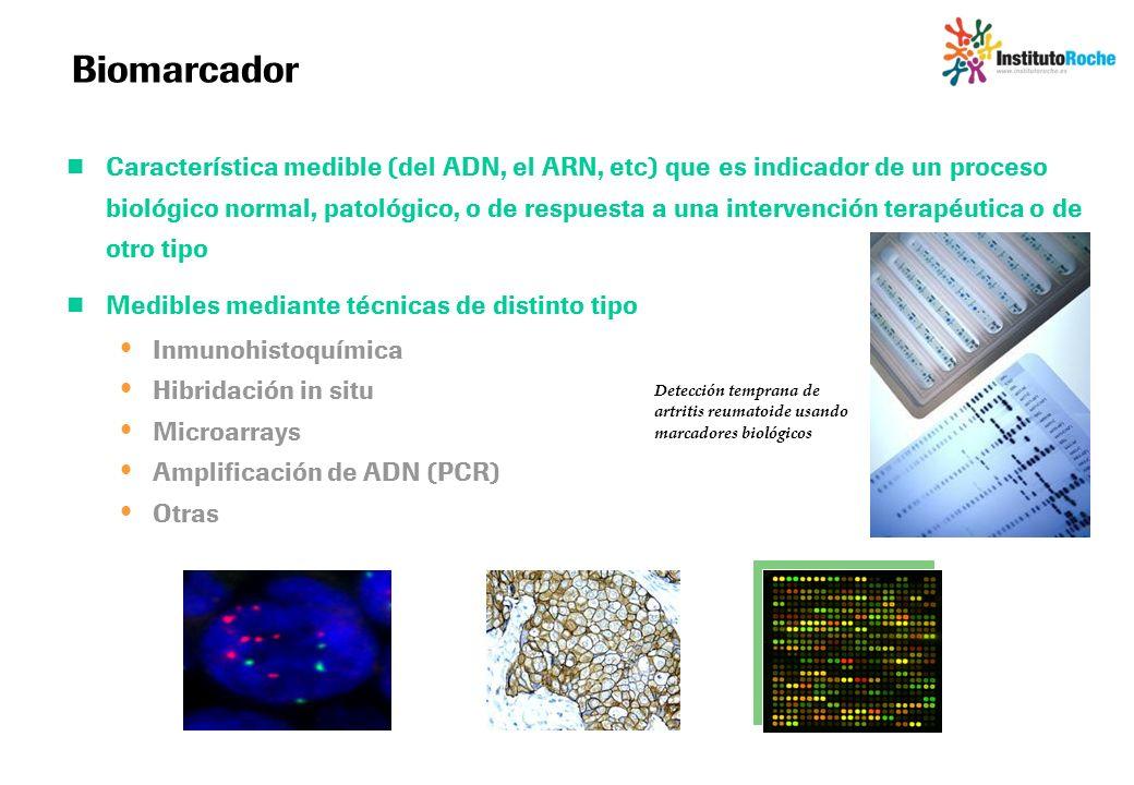 Biomarcador Característica medible (del ADN, el ARN, etc) que es indicador de un proceso biológico normal, patológico, o de respuesta a una intervenci