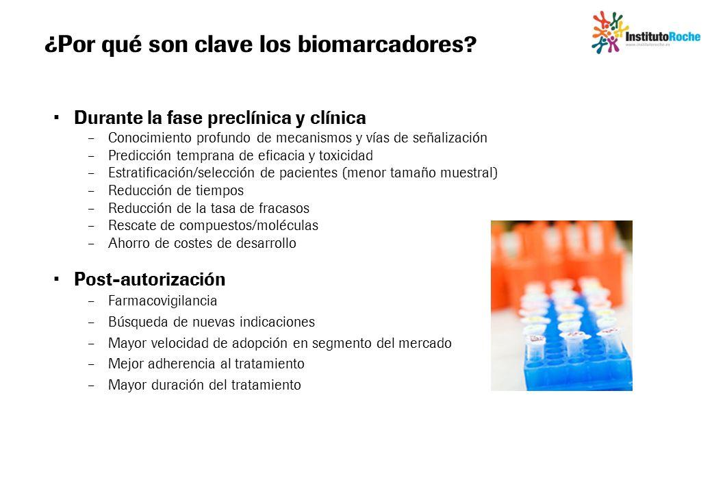 ¿Por qué son clave los biomarcadores? Durante la fase preclínica y clínica – Conocimiento profundo de mecanismos y vías de señalización – Predicción t