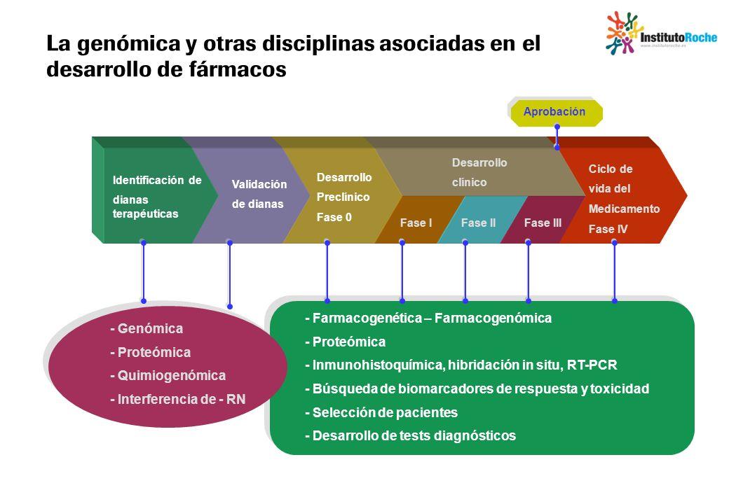 La genómica y otras disciplinas asociadas en el desarrollo de fármacos Identificación de dianas terapéuticas Validación de dianas Desarrollo Preclínic