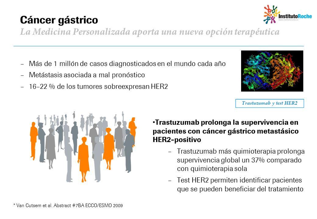Cáncer gástrico La Medicina Personalizada aporta una nueva opción terapéutica Trastuzumab y test HER2 Trastuzumab prolonga la supervivencia en pacient