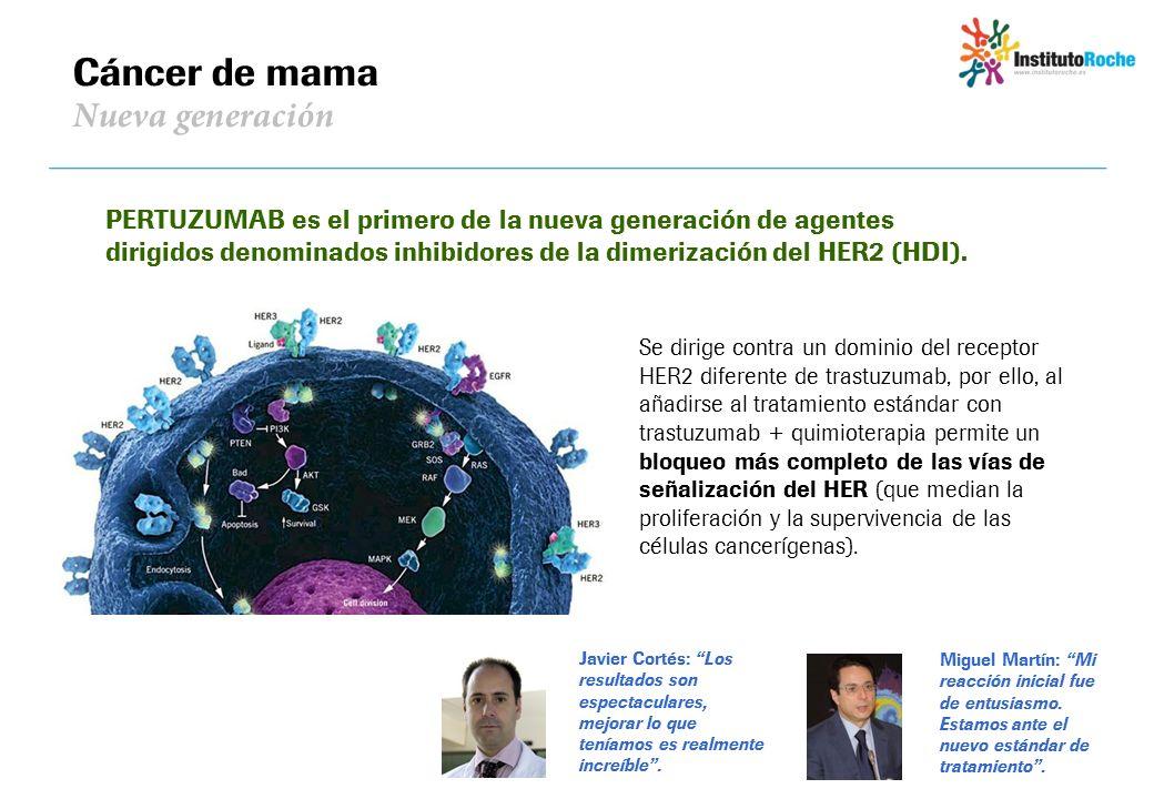 Cáncer de mama Nueva generación PERTUZUMAB es el primero de la nueva generación de agentes dirigidos denominados inhibidores de la dimerización del HE