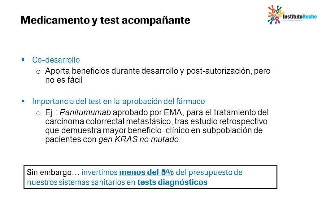 Co-desarrollo o Aporta beneficios durante desarrollo y post-autorización, pero no es fácil Importancia del test en la aprobación del fármaco o Ej.: Pa