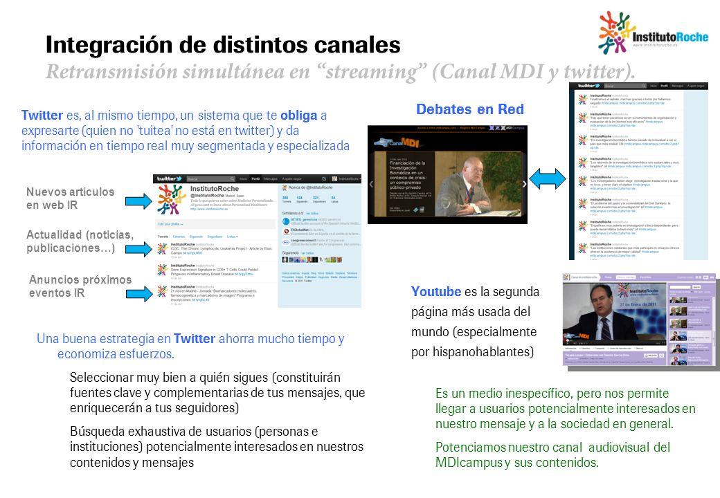 Integración de distintos canales Retransmisión simultánea en streaming (Canal MDI y twitter). Debates en Red Twitter es, al mismo tiempo, un sistema q