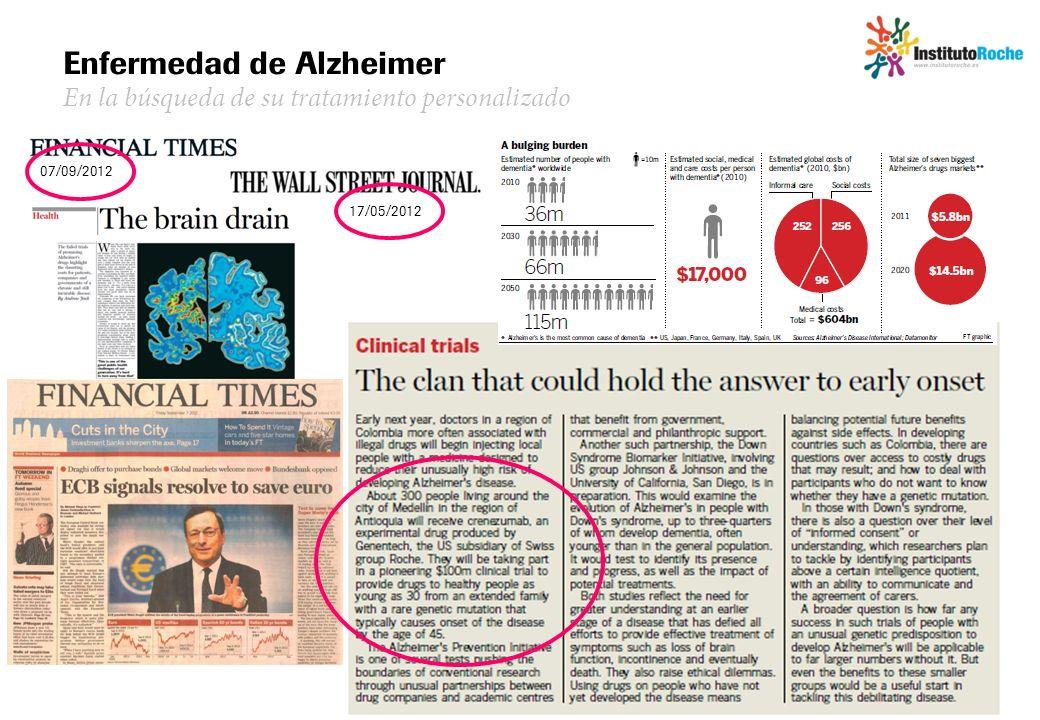 07/09/2012 Enfermedad de Alzheimer En la búsqueda de su tratamiento personalizado 17/05/2012