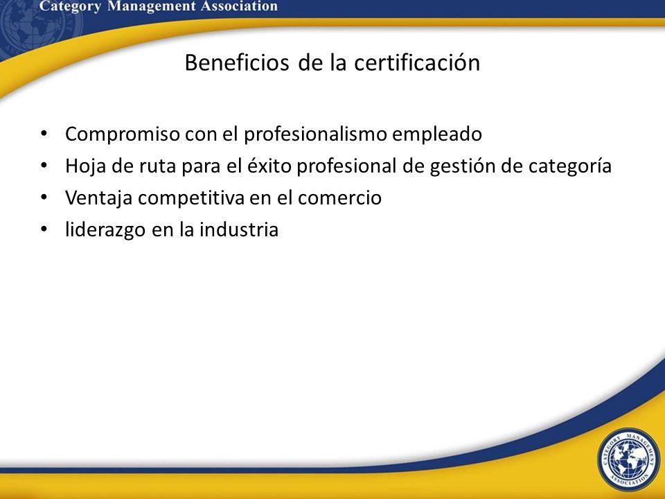 Beneficios de la certificación Compromiso con el profesionalismo empleado Hoja de ruta para el éxito profesional de gestión de categoría Ventaja compe