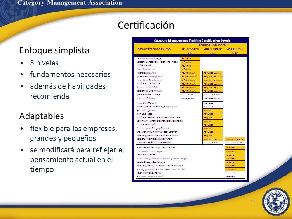 Certificación Enfoque simplista 3 niveles fundamentos necesarios además de habilidades recomienda Adaptables flexible para las empresas, grandes y peq