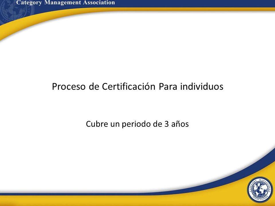 Proceso de Certificación Para individuos Cubre un periodo de 3 años