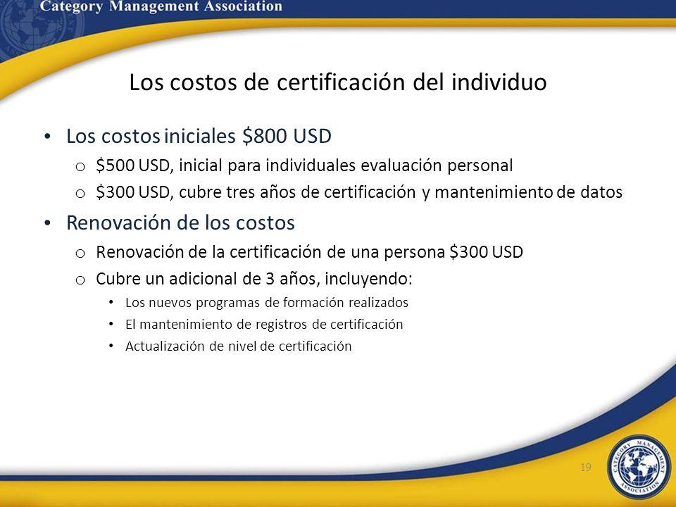 Los costos de certificación del individuo Los costos iniciales $800 USD o $500 USD, inicial para individuales evaluación personal o $300 USD, cubre tr