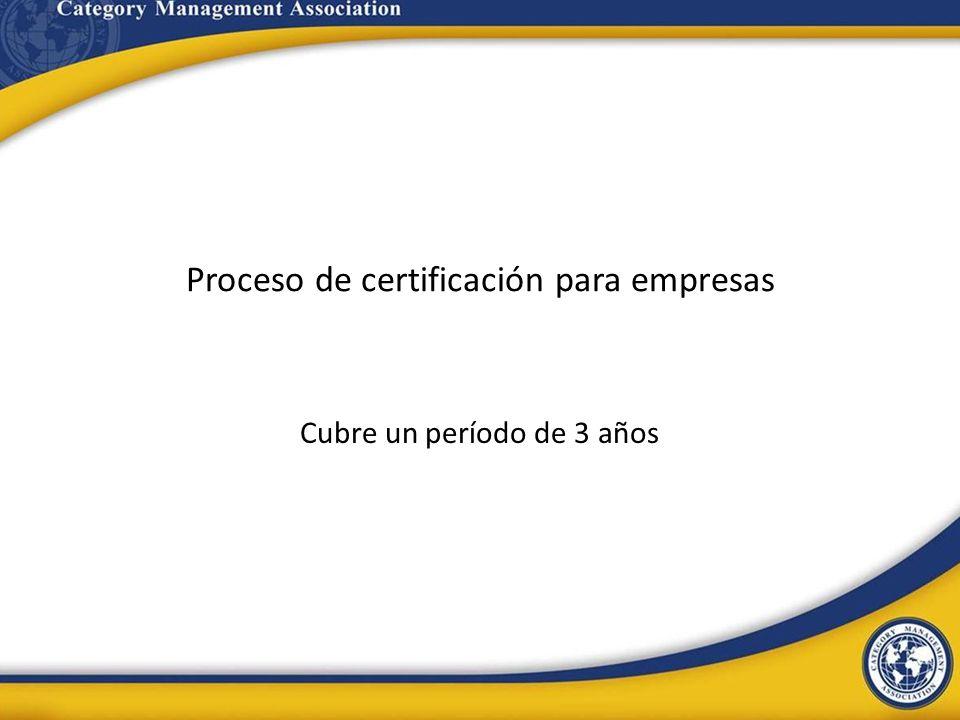 Proceso de certificación para empresas Cubre un período de 3 años