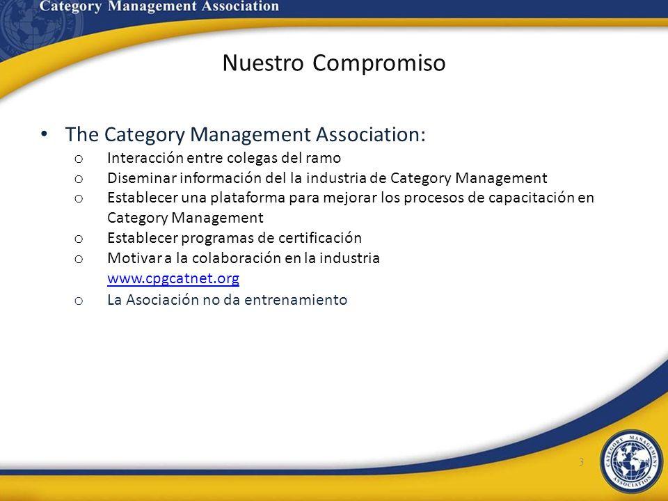 Nuestro Compromiso The Category Management Association: o Interacción entre colegas del ramo o Diseminar información del la industria de Category Mana