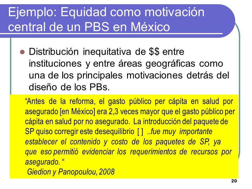 Ejemplo: Equidad como motivación central de un PBS en México Distribución inequitativa de $$ entre instituciones y entre áreas geográficas como una de