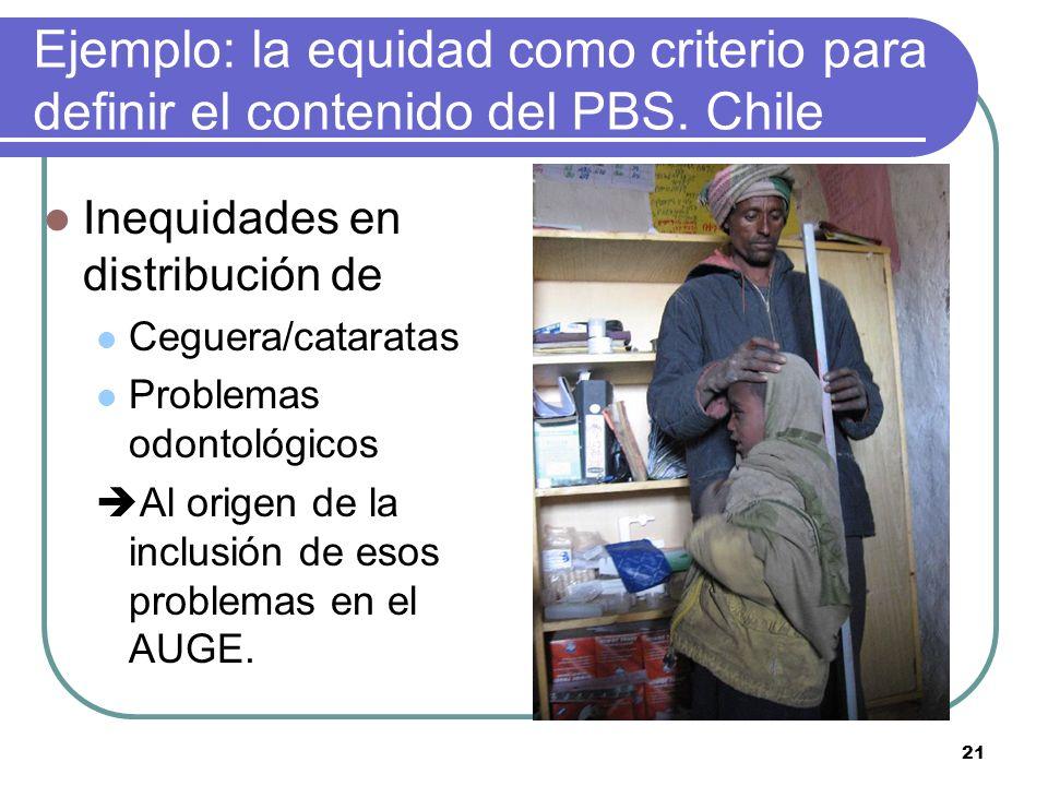 Ejemplo: la equidad como criterio para definir el contenido del PBS. Chile Inequidades en distribución de Ceguera/cataratas Problemas odontológicos Al