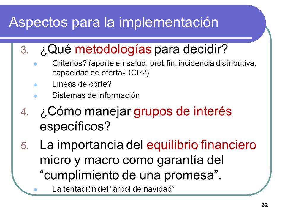 32 Aspectos para la implementación 3. ¿Qué metodologías para decidir? Criterios? (aporte en salud, prot.fin, incidencia distributiva, capacidad de ofe