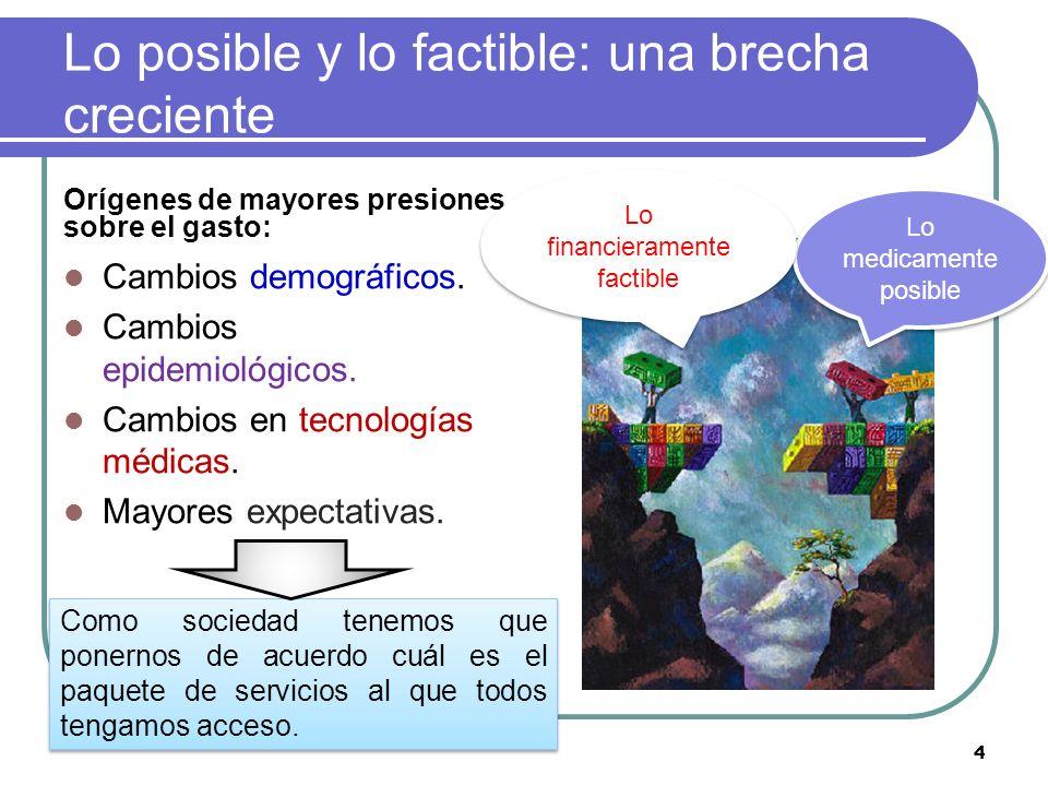 Lo posible y lo factible: una brecha creciente Orígenes de mayores presiones sobre el gasto: Cambios demográficos. Cambios epidemiológicos. Cambios en