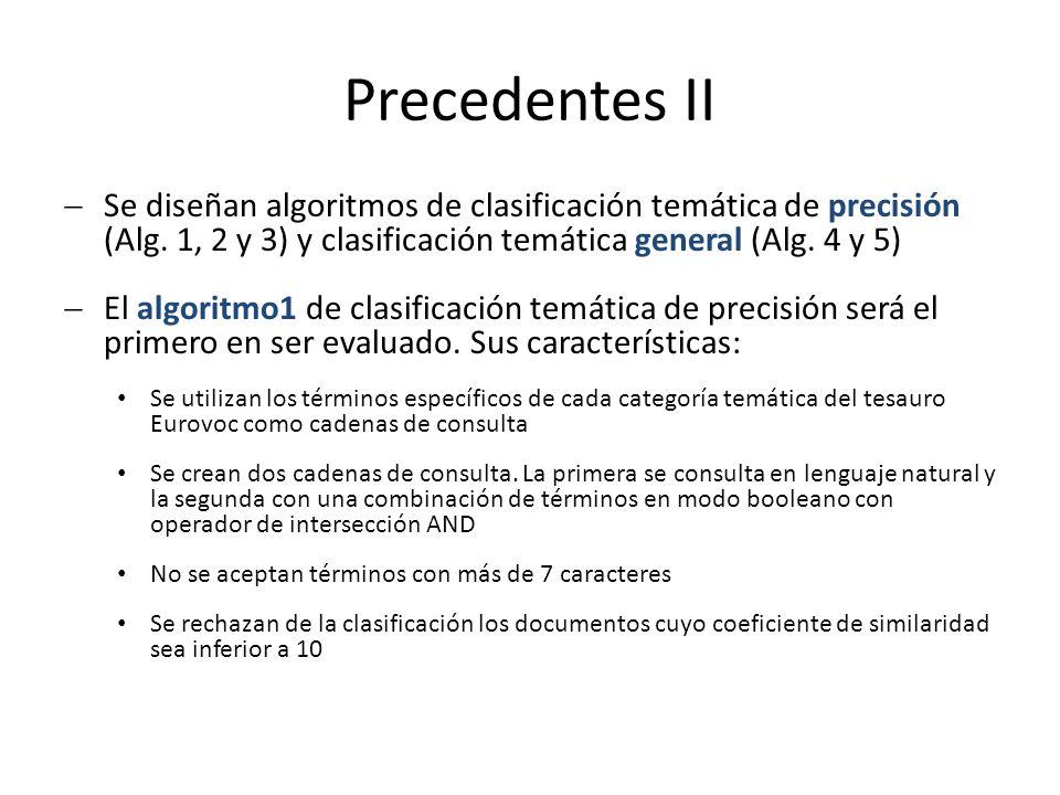 Precedentes II Se diseñan algoritmos de clasificación temática de precisión (Alg.