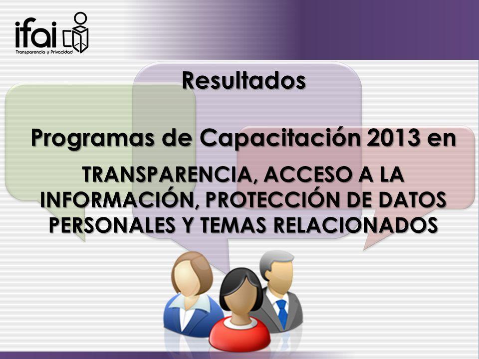 Resultados Programas de Capacitación 2013 en TRANSPARENCIA, ACCESO A LA INFORMACIÓN, PROTECCIÓN DE DATOS PERSONALES Y TEMAS RELACIONADOS