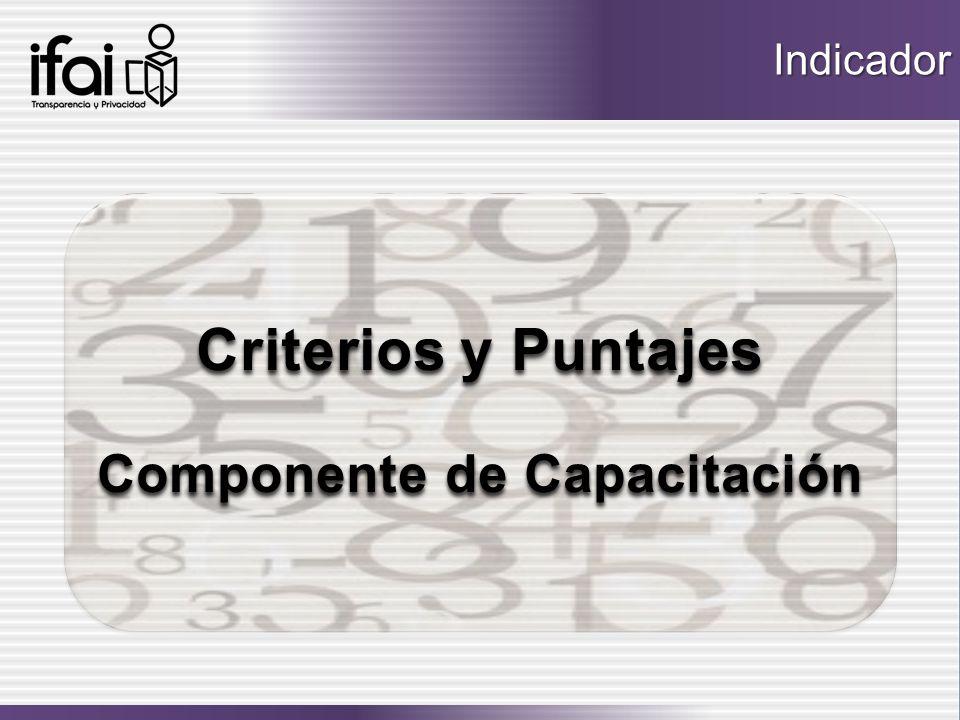 Criterios y Puntajes Criterios y Puntajes Componente de Capacitación Componente de Capacitación Criterios y Puntajes Criterios y Puntajes Componente d