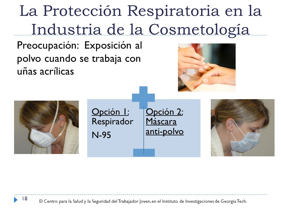 Center for Young Worker Safety and Health at Georgia Tech Research Institute La Protección Respiratoria en la Industria de la Cosmetología 18 Opción 1