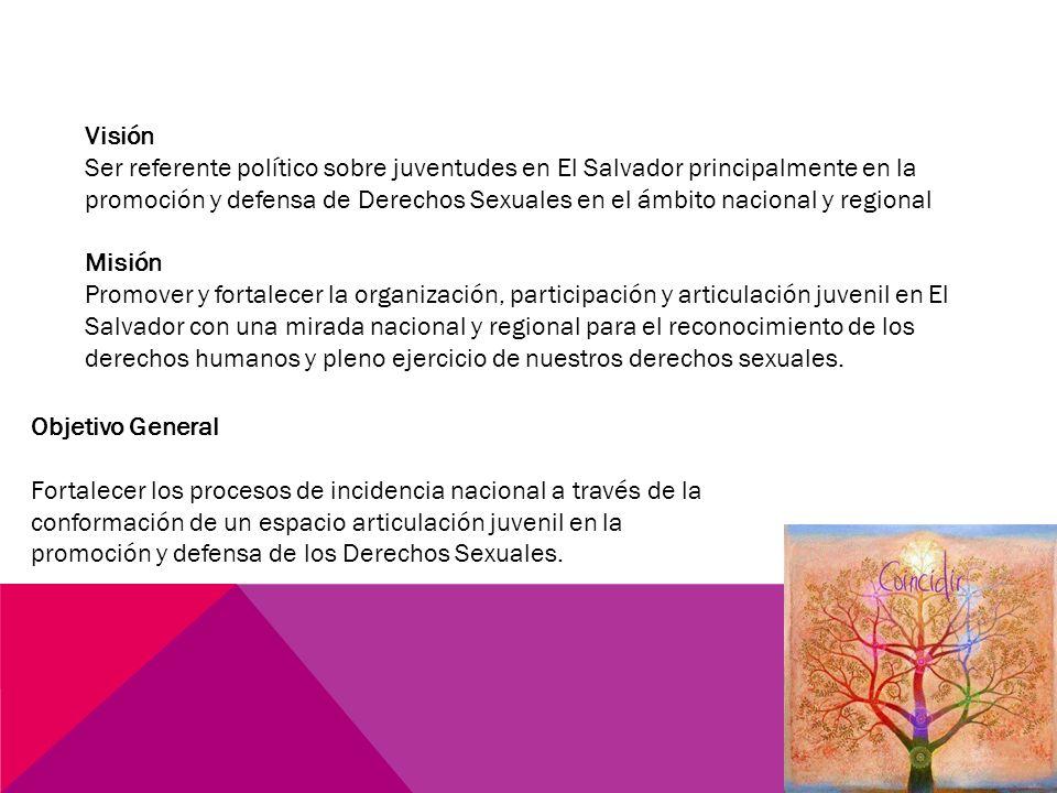 Visión Ser referente político sobre juventudes en El Salvador principalmente en la promoción y defensa de Derechos Sexuales en el ámbito nacional y regional Misión Promover y fortalecer la organización, participación y articulación juvenil en El Salvador con una mirada nacional y regional para el reconocimiento de los derechos humanos y pleno ejercicio de nuestros derechos sexuales.