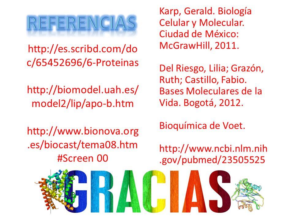http://es.scribd.com/do c/65452696/6-Proteinas http://biomodel.uah.es/ model2/lip/apo-b.htm http://www.bionova.org.es/biocast/tema08.htm #Screen 00 Ka