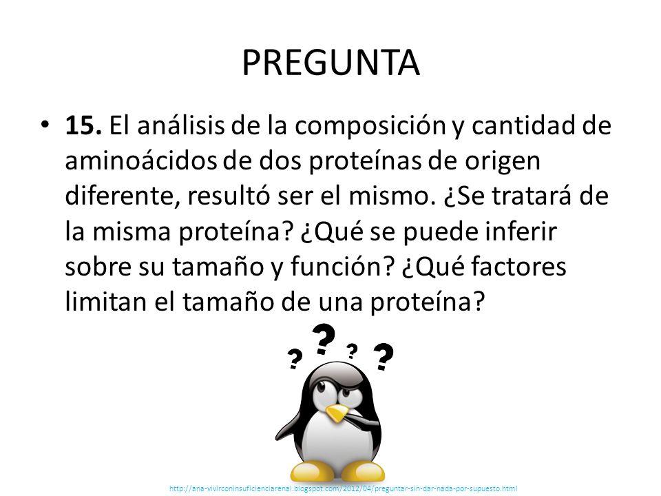 PREGUNTA 15. El análisis de la composición y cantidad de aminoácidos de dos proteínas de origen diferente, resultó ser el mismo. ¿Se tratará de la mis