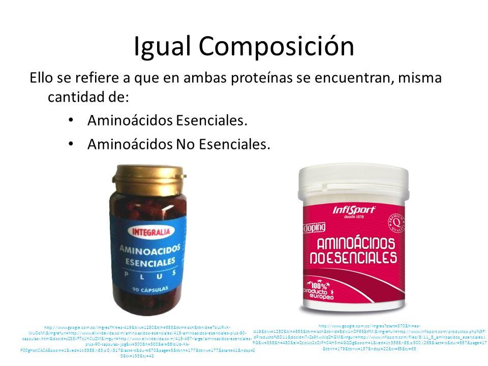 Igual Composición Ello se refiere a que en ambas proteínas se encuentran, misma cantidad de: Aminoácidos Esenciales. Aminoácidos No Esenciales. http:/