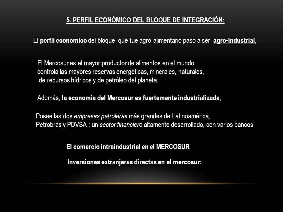 5. PERFIL ECONÓMICO DEL BLOQUE DE INTEGRACIÓN: El perfil económico del bloque que fue agro-alimentario pasó a ser agro-Industrial, El Mercosur es el m
